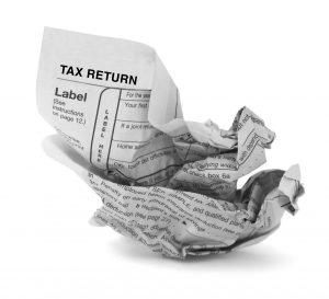 crumpled tax report